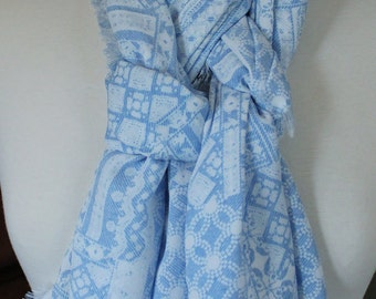 Lightweight Light Blue and White Scarf