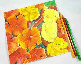 Pencils drawing, orange and yelllow flowers, original artwork, colored pencils on paper, moderno decore, Wall art, home decore, Bedroom.