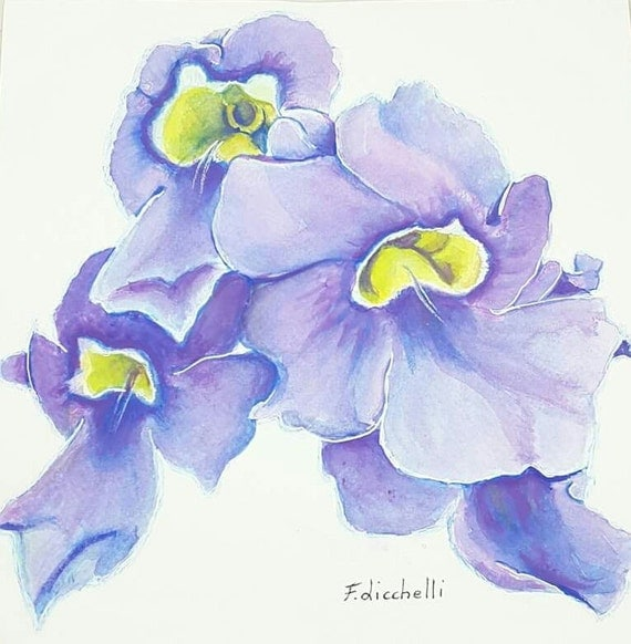 Purple flowers, watercolor, original painting, wall decoration, home, office art, gift idea for her birthday, bedroom, living room decore.