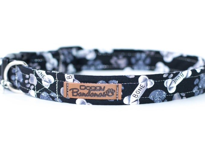 Bones Dog Collar Paw Pattern Dog Collar Custom Grey Dog Collar Puppy Unique Dog Collar Boy Black Dog Collar Funny Cute Dog Collar Dog Gifts