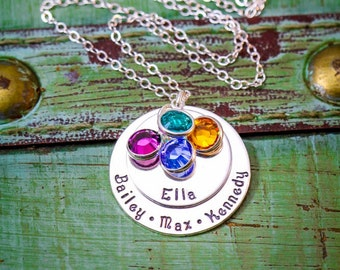 Stamped Mommy Necklace • Sterling Silver Grandma Necklace • Layered Necklace • Childrens Names • Two Layered Discs • Large Family Necklace