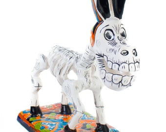 Catrina Style Donkey with colorful talavera details skeleton day of the dead pet home decoration statue SMALL