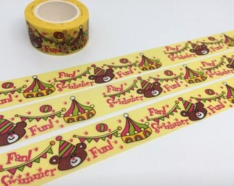 circus party tape 10M fun party bear washi tape circus party invitation deco sticker tape yellow tape party planner sticker diary scrapbook