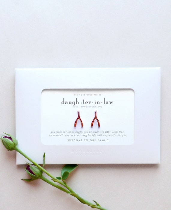 Daughter In Law | From Groom's Parents to Future Daughter-In-Law | Wishbone Earrings | Message Greeting Card Jewelry Engagement Wedding Gift