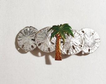Sand dollars Hair Barrette, Shell Hair clip, Palm Tree hair barrette