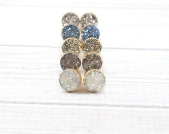 Druzy Post Earrings, Druzy Earrings, Druzy Studs, Gold Earrings, Druzy Stud Earrings, Bridal Earrings, Bridesmaid Earrings, Stud Earrings