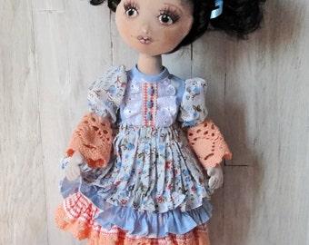 Textile doll OOAK/ handmade Interior doll/ Cute doll. Soft doll Cloth doll lovely doll Fabric Doll/ Beautiful black-haired doll/ Dressy doll