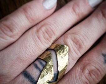 Shield Ring Hammered Shield Ring Brass Shield Ring Silver Shield Ring Bohemian Shield Ring Hammered Boho Ring Big Shield Ring Big Geo Ring