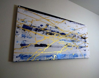 Blue and Gold Abstract Painting | Large Canvas | Oil Painting | Contemporary Art | OceanSplatter