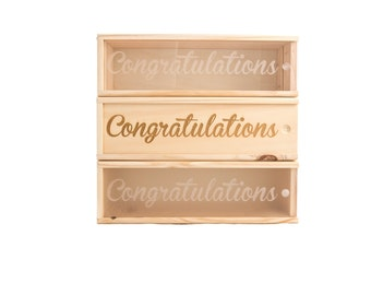 Wooden Wine Box (single) - Congrats #2