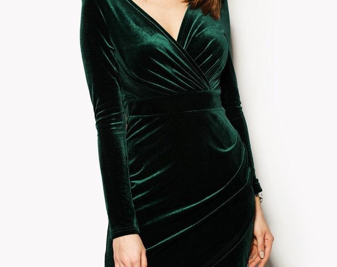 Velvet Wrap Dress, Long Sleeve Dress, Red Dress, Green Dress, Sexy Dress