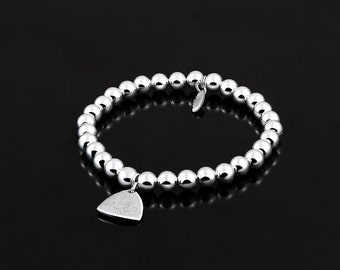 Sarulo 925 Sterling Silver Beaded Bracelet 6mm Balls Customize Charm Jewelry Gift Box Accessories Included