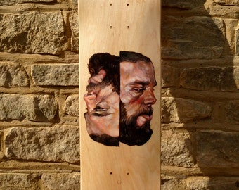 Two Faced; Hand Painted Skateboard deck Art