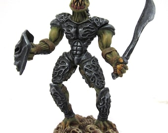 Fantasy Lizard man Reptile warrior with sword and shield figurine