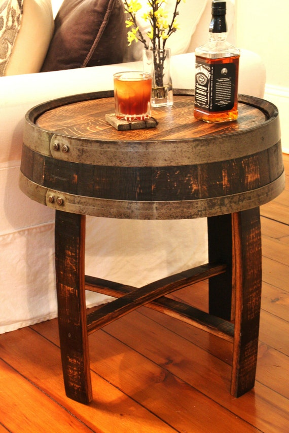 handcrafted oak whiskey barrel end table. Black Bedroom Furniture Sets. Home Design Ideas
