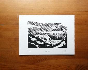 "No.1 Linocut Print 5""x7"" Home Decor, Wall Art"