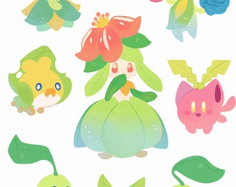 Grass Pokemon Stickers