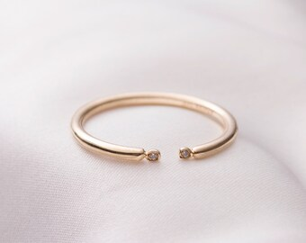 Thin Double stone 14k gold ring, thin ring, Skinny gold ring, 14k solid gold ring, adjustable ring, anniversary gift, stackble ring