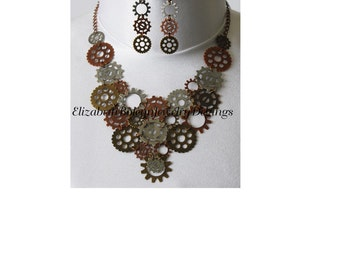 Gear necklace and earring set