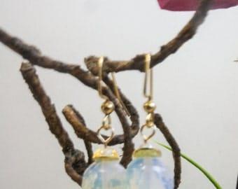 Opalite dangle earrings on 24kt plated brass