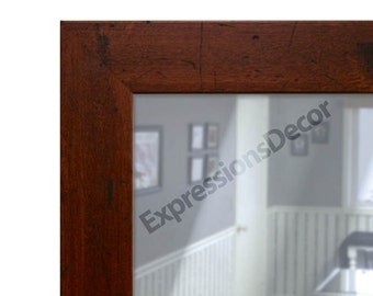 Custom Distressed Walnut Wall Mirror - Flat Glass - FREE SHIPPING