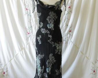 Blue black floral silk midi dress | Silk off the shoulder formal dress | Romantic silk 90's dress | Size large