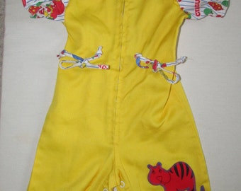 Vintage 1970s Yellow Applique Circus Girls Baby Doll Onsie Perma Prest Sears