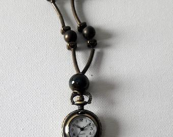 Vintage tone Pocket watch pendant, Steampunk locket watch, Copper color Quartz watch jewelry