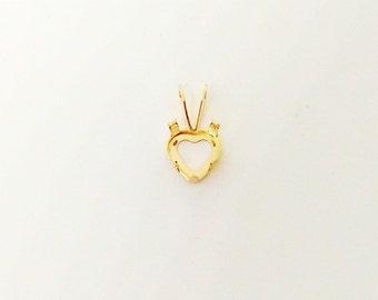 14k Gold Pendant, Heart Pendant Setting, 6x6mm Pendant Base, Heart Shaped Stone, 4 Prong Snap-Tite, Blank Pendant, Necklace Findings, TM1771