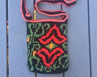 Black Crochet Bag with Art Nouveau Design - Crossbody Purse - Tapestry Crochet Handbag