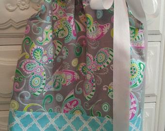 Girls Pillowcase Dress-Butterflies and Paisley