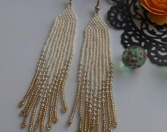 Beaded earrings Holiday earrings Seed bead jewelry Boho earrings fringe earrings extra long earrings jewelry beads beige gold