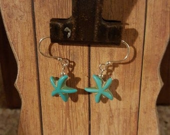 Starfish Earrings, Turquoise Starfish Earrings, Beach Jewelry, Starfish Jewelry, Nautical Jewelry