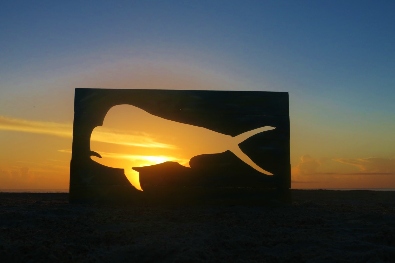 large reclaimed wood mahi fish cutout custom wall art
