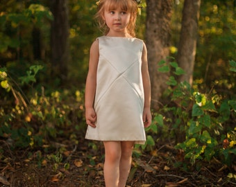 Cross Diagonals Flower Girls Dress in Ivory - Made to Order