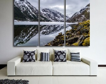 Large Wall Mountain & Lake Canvas Color Alps Multipanel Canvas Lake Art Large Alps 1-3-4-5 Panel Winter