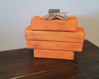 Rustic Stacked Wood Pumpkin - Handpainted Fall Decor