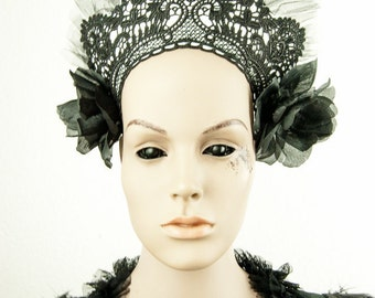 headdress kokoshnik white lace goth russian
