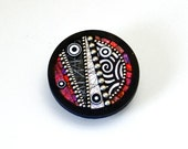 Pin brooch pendant necklace Round circle polymer clay iridescent red pink colors sterling silver beads black and white elements