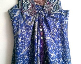 Indigo Dress, Floaty, Silk, Purple, Vintage Embroidery, Beautiful Dress, Vintage Lace, Bohemian, Rustic