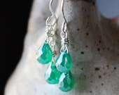 green earrings, emerald green gemstone jewelry, green quartz  bridesmaid jewelry, gift for wife girlfriend
