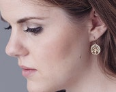 Oakland earrings, Tree of Life Earrings, gold tree of life earrings, Oakland tree earrings, handmade for charity