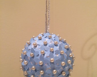 Light Blue Paper Flower Ornament: Handmade and Unique!