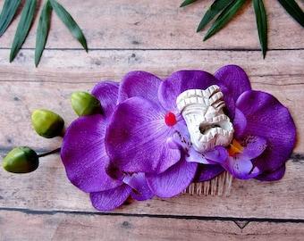 Purple Orchid Tiki Hair Comb-Tropical Hair Clip, Pinup Hair Clip