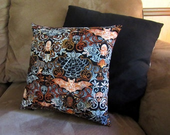Wicked Night - 12x12 Pillow - with pillow form - Halloween - Skull - Spider - Bats - Black - Orange - Damask - Gothic - Accent Pillow