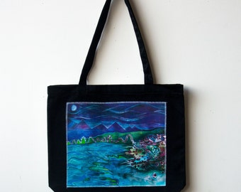 Full Moon Ocean Art Tote Organic Cotton Canvas  Book Grocery Craft Bag