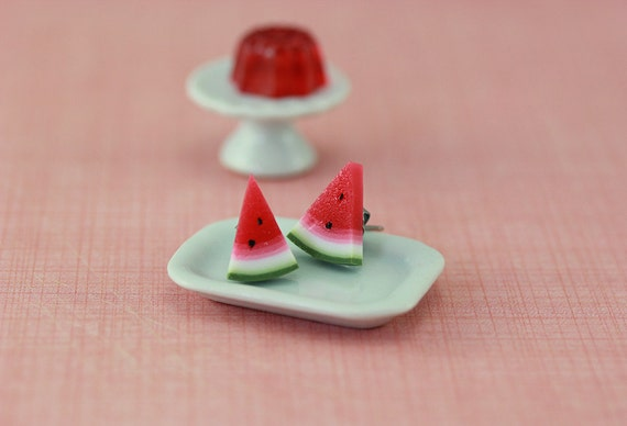 Watermelon Wedge Studs / Post Earrings
