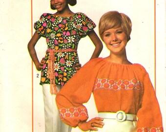 Simplicity 9231 Peasant Style Blouse SUPER SIMPLE no buttons or zipper VINTAGE 1970s ©1970