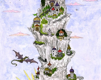 Nine Fairy Tale Castles and Dragon on a Mountain Overlooking the Sea Fine Art Print Fantasy Sun Moon Ink and Watercolours