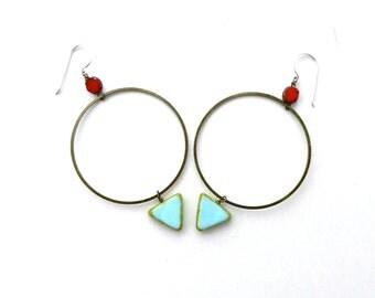 Hoop Earrings // Statement Earrings // Beaded Hoop Earrings // Geometric Jewelry // Boho Jewelry // Gifts for Her // Brass Hoop Earrings